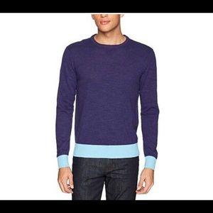 Michael Bastian Blue Colorblock Crewneck Sweater